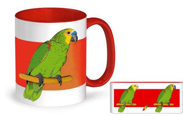 Papageientasse Blaustirn- und Gelbkopfamazone