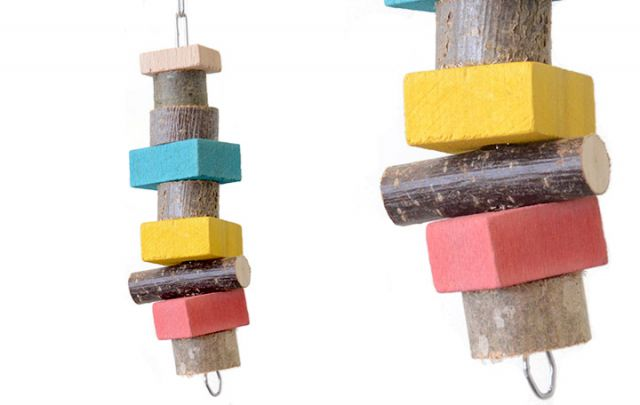 Papageien Spiel Kette mit Naturholz 22x6cm