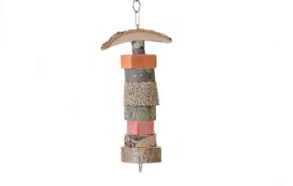 Papagei Kette mit Holz und Mineralstein ca. 30cm