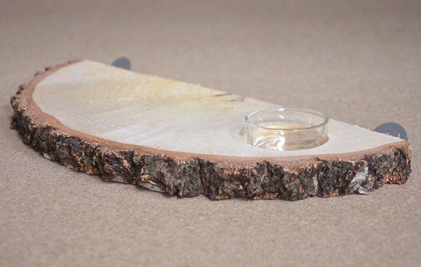 Natur Sitzbrett mit Glasnapf ca. 20 cm