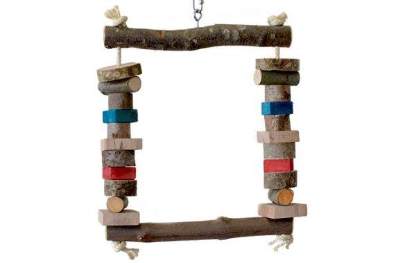 Holzschaukel Papagei mit Spielholz 45x32cm
