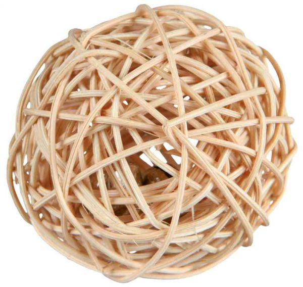 Rattanball mit Schelle ø 4 cm
